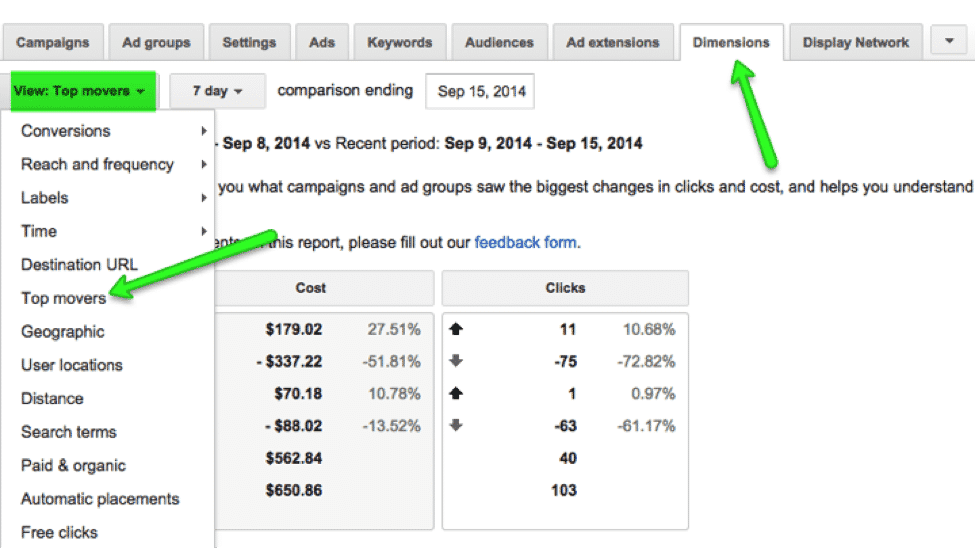 adwords dimensions