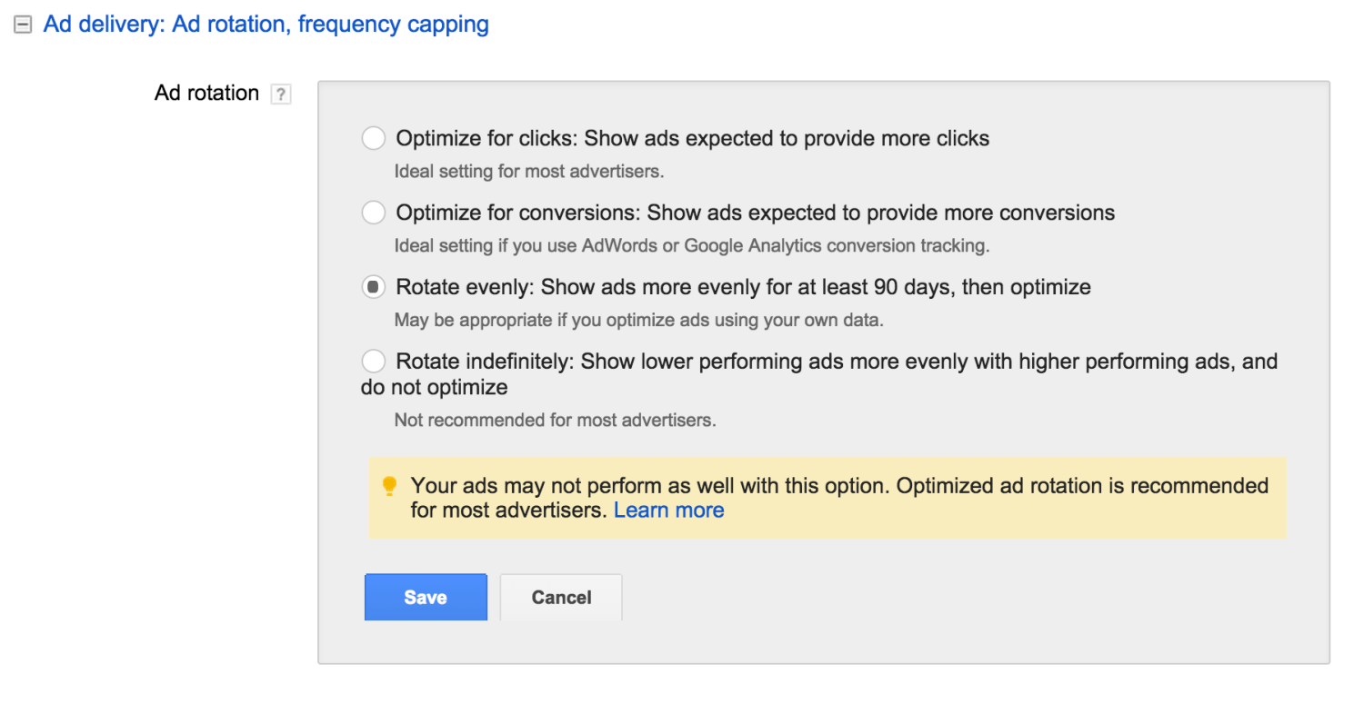 Ad Delivery Settings