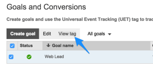 Bing Ads Universal Event Tag