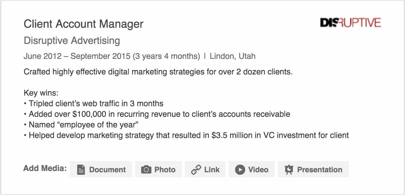 LinkedIn Job Experience Example | Disruptive Advertising