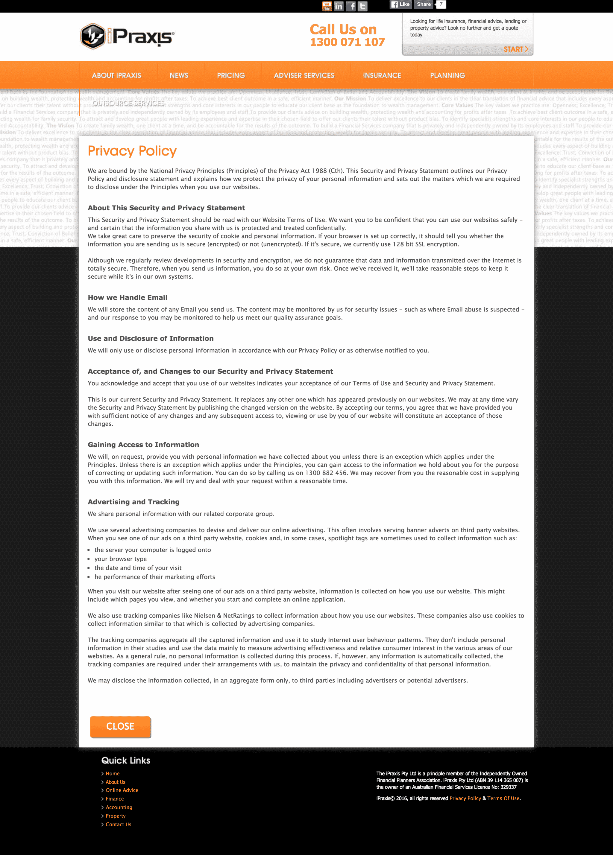 Lightbox Privacy Policy Screenshot | Disruptive Advertising