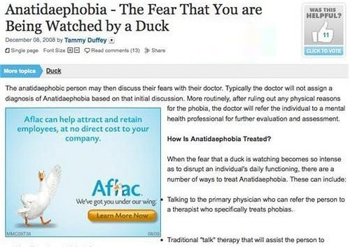 Bad Display Ads – Aflac Anatidaephobia| Disruptive Advertising