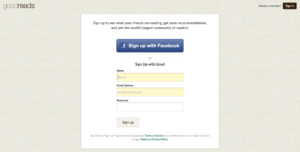 GoodReads Social Sign-On Example | Disruptive Advertising
