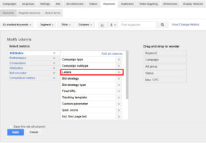 Adding Labels Column in AdWords | Disruptive Advertising