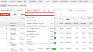 Creating a Keyword Tiering Filter in AdWords | Disruptive Advertising