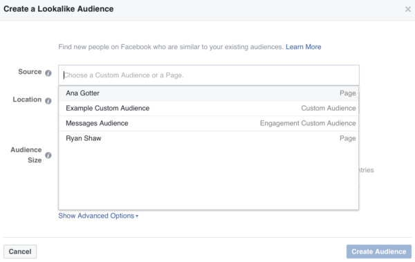Facebook ads targeting audience segmentation