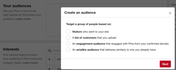 Pinterest's promoted pins audiences