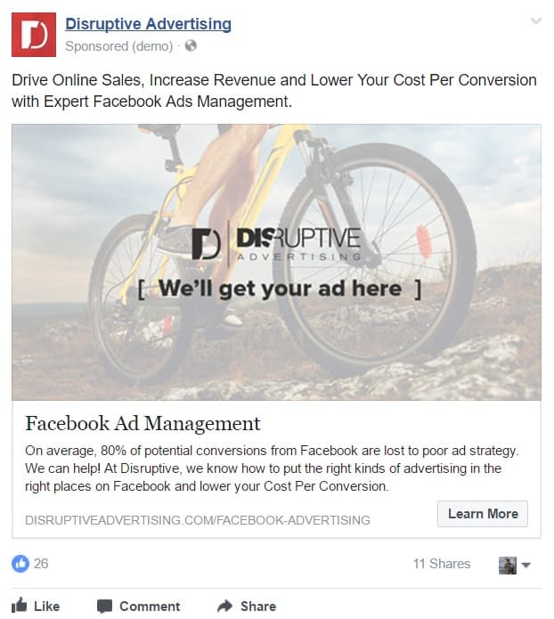 Video Ad Quality: Sample Facebook Lead Ad | Disruptive Advertising