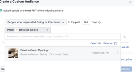 facebook ads events custom audiences