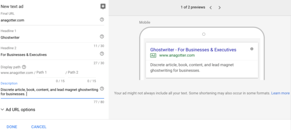 creating Google Adwords campaigns