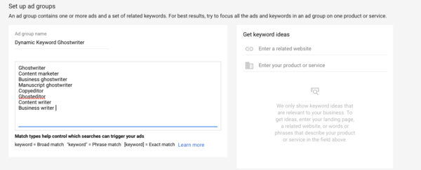 Google Adwords dynamic keyword insertion