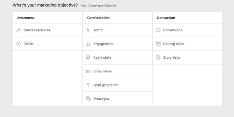 Choose objective for Facebook Ads