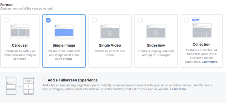 Choose an Ad format for Facebook Ads