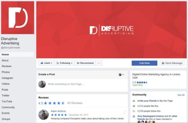 Facebook Marketing: Facebook Page | Disruptive Advertising