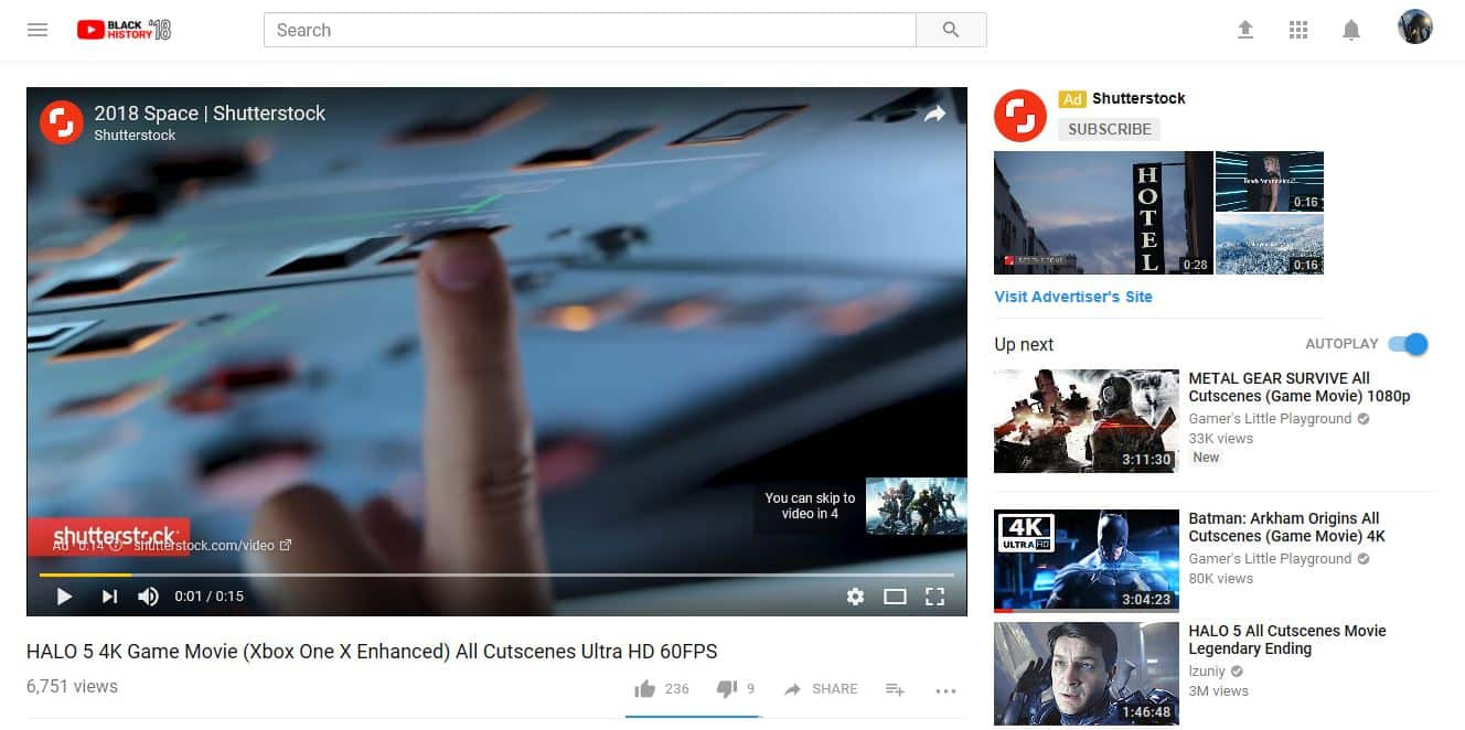 screenshot of YouTube video advertising, displaying YouTube channel page with video playing