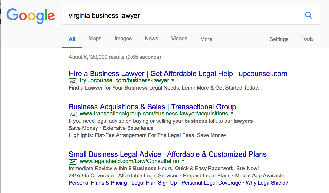 AdWords strategies for law firms