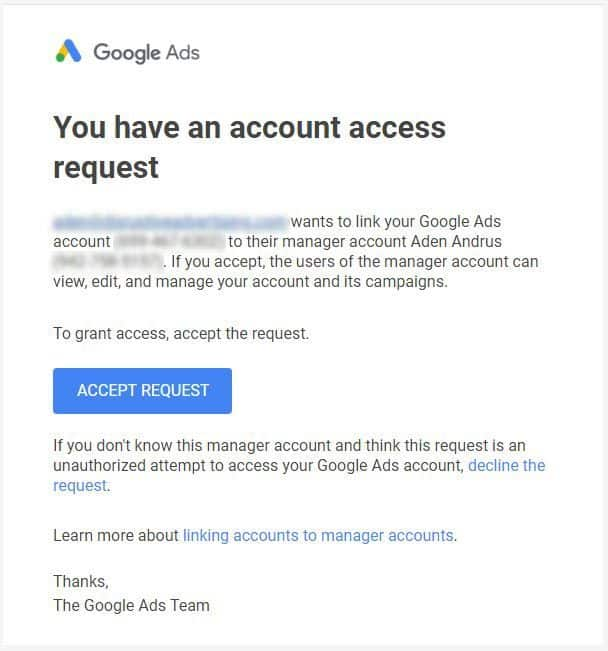 Image result for access request email to google ads account